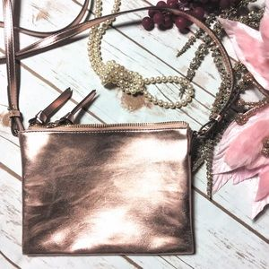 Rose Gold crossbody double zip purse